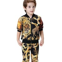 2016 New Leopard Printed Toddler Boys Clothing Set 2016 Autumn Winter Sport Suit Sale Baby Kids Clothes Boutique Kids Clothing