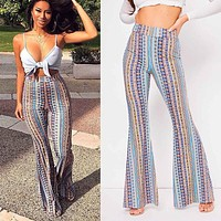 2020 new women's sexy striped printed casual wide-leg pants