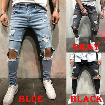 Men's Jeans Trousers Long Pants with Hole Slim