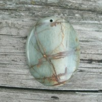 Picasso Jasper Blue/Brown Pendant Bead, oval stone, polished, drilled top center, Jasper, pendant stones, pendant beads, semi precious, DIY
