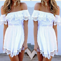 Slash Neck Off Shoulder White Lace Crochet Romper Dress Sexy Short Casual Beach Dresses = 5738901441