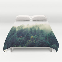 Duvet Cover, Tree Mountain Trees Forest Clouds Bedding Cover, Decorative Nature Bedroom Decor, Home Decor, King, Queen, Full