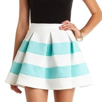 Pleated & Striped Skater Skirt by Charlotte Russe - Deep Mint Cmb
