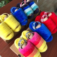 shosouvenir UGG Hight Quality Women Fashion Fluff Yeah Slides Fur Flats Sandals Slipper Shoes
