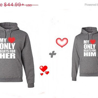 Valentine Sale My Heart Only Beats For Him My Heart Only Beats For Her Matching Couples Hoodies Sweatshirts in Grey. Personalize by adding n