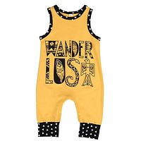 born Baby Yellow Romper Summer Sleeveless Cotton Rompers Jumpsuit Outfit Toddler Kids Casual Suit 0-18M