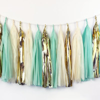 Shiny Mint Tassel Garland - Tissue Paper Tassel Garland - Gold, Mint - Party Decoration // Wedding Decor // Nursery Decoration