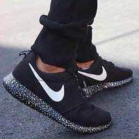 Nike Roshe run black with white speckle Size 9 UK**NEW**