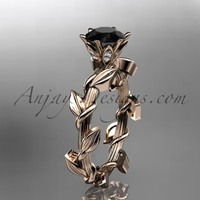 Unique 14kt rose gold diamond floral wedding ring,engagement ring with a Black Diamond center stone ADLR248