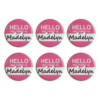 Madelyn Hello My Name Is Plastic Resin Button Set of 6