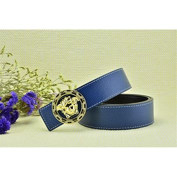 Mens Gold Buckle Free Blue Leather Versace Litchi Stria Belt Brand New