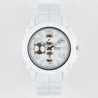 Geneva Large Round Metal Watch White One Size For Men 20609415001