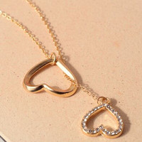 Gold Hearts Pendant Crystal Detail Chain Necklace