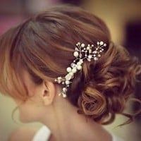 Bohemian Crystal Pearl Wedding Bridal Halo Hair Vine Jewelry Head Crown Comb
