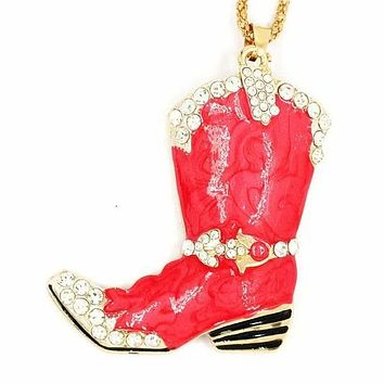 Betsey Johnson Cowboy Boot Red Marble Crystal Pendant Necklace