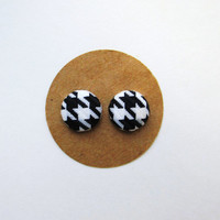 Houndstooth Fabric Button Earrings // Alabama Earrings // SEC Football // Houndstooth Accessories // Alabama Football // Black and White