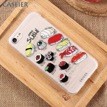 CASEIER Cases For iPhone 6 S 7 7 Plus 5 s SE Clear Sushi Embossed Cover For Samsung S6 S7 Edge Fundas Cute Phone Case Coque Capa
