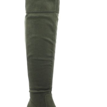 Women's Becky-02 Faux Suede Over The Knee Thigh High Chunky Heel Dress Boot