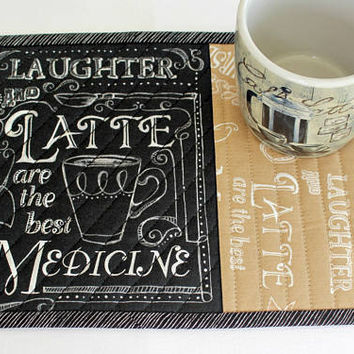 Quilted Mug Rug, Coffee Latte, Snack Mat, Chalk Board Black Tan Mug Mat with Sayings, Quiltsy Handmade