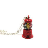 Gumball Machine Necklace, Gumball Machine Charm, Gumball Machine Jewelry, Candy Machine Necklace, Bubble Gum Necklace, Gumball Charm