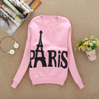 Modern Spring Autumn Winter Womens Long Sleeve Printed Pullover casual Sweatshirts Blouse Tops Cotton Eiffel Tower Pattem H17