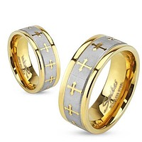 6mm Celtic Cross Gold IP Stainless Steel Ring w/Brushed Center Two Tone Ring