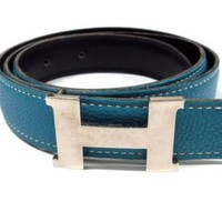 Auth HERMES H Belt Blue Leather Square F Belt