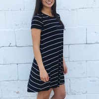 The Premium Sleek Jersey Pencil Striped Dress - Black