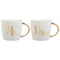 Mr. & Mrs. Coffee Mugs with Gold Handles