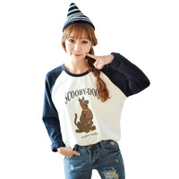 Scooby Doo Dog Letters Print Raglan Long Sleeve T-shirt