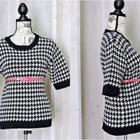 Houndstooth sweater size M / vintage 80s black and white sweater / womens heavy knit cotton pullover sweater
