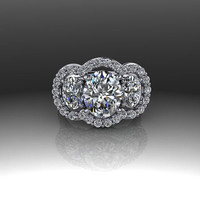 Forever Brilliant Moissanite and Diamond Three Stone Oval Engagement Ring 5 CTW