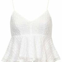 Peplum Lace Cami Top - White