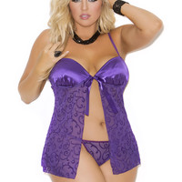 Plus Size Mesh Burnout Babydoll and G-String