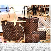 LV Louis Vuitton Flor Women Girl Monogram Canvas Neverfull Two piece And Key pouch-Coin purse-1