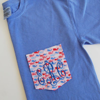 NEW Vineyard Vines Confetti Whale fabric with Monogram Pocket T Shirt