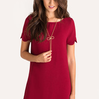 Victoria Red Scallop Shift Dress