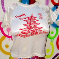 SWEET LORD O'MIGHTY! CHINESE TAKE OUT VELVET CROP TEE