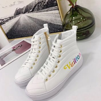 2020 New Louis Vuitton LV Woman Popular Cow Leather Monogram Empriente high - top boots Casual Sneaker  sport shoes best quality