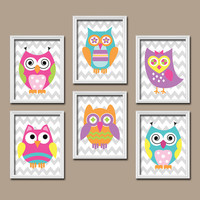 Funky Bold Bright Colorful Owl Artwork Set of 6 Prints WALL ART Decor Baby Bedroom Picture Child Crib NURSERY Bathroom