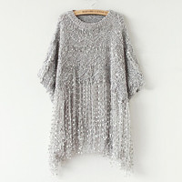 Asymmetrical Sleeve Fringed Shirt