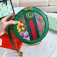 Vsgirlss GUCCI New Retro Fashion Women Shopping Bag Leather Flower Print Circular Shoulder Bag Crossbody Satchel