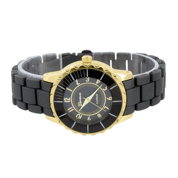 Unique Ladies Gold Tone Black Band New Watch Round Face