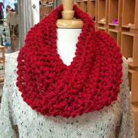 Hand Knit Cowl Twist Infinity Scarf - Varying Colors