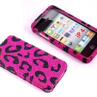 Smile Case Pink Leopard Cheetah Bling Rhinestone Crystal Snap on Full Cover Case for AT&T Verizon Sprint iPhone 4 iPhone 4S (4-Bling Leopard Pink)
