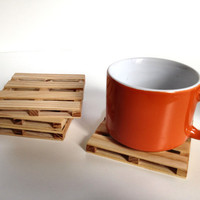 Beverage Pallet Drink Coaster - Coffee Coaster - 2 Coaster Set - Natural Reclaimed Hickory Wood