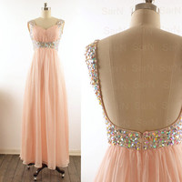 Long Prom Dresses, Custom Straps Sweetheart Chiffon Formal Dresses, Long Peach Prom Gown