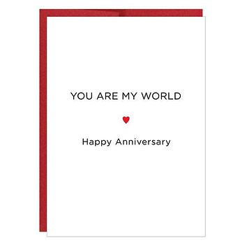 You Are My World Letterpress Anniversary Card