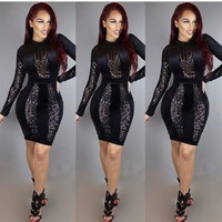 Black Patchwork Sparkly Sequin Bodycon New Year Party Mini Dress