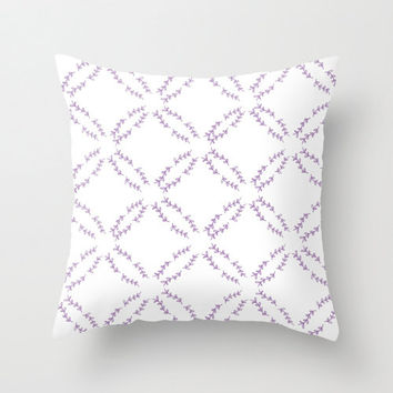 Purple and White Pattern Home Decor Throw Pillow Cover, Illustrated Decorative Pillow, Lilac, Lavender Color Accent Pillow